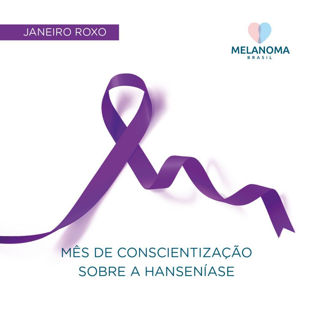 Imagem mostrando a fita do Janeiro Roxo, mês de consientização sobre a hanseníase